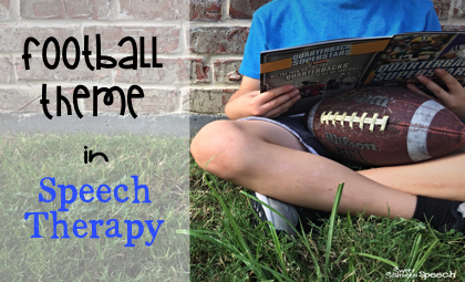 How to incorporate a football theme in the speech therapy room! Great book suggestions, games and a free download!