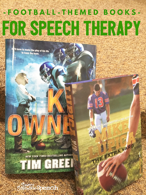 Great ideas for using football books to keep boys engaged in speech therapy