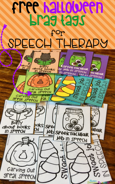 Free brag tags for Halloween in speech therapy!