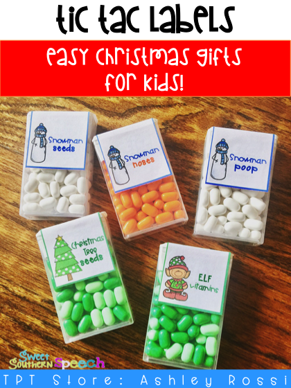 Easy Christmas gift tag Tic Tac Candy labels - perfect for kids