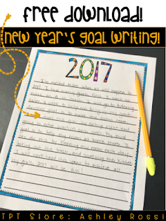 New Year's writing FREE download- help your students set goals!