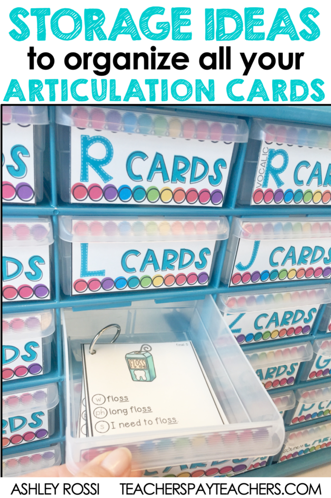 organizing your articulation cards in your speech therapy room