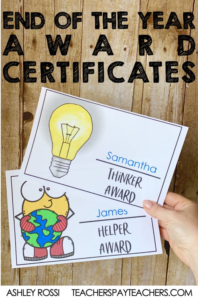 Download these editable End of the School Year Award Certificates for your elementary students. Color and black & white designs included + designs to add your custom content!