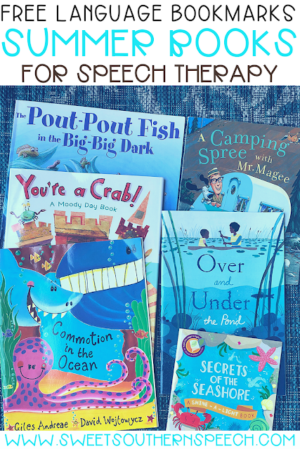 FREE language goals to use with summer picture books in speech therapy
