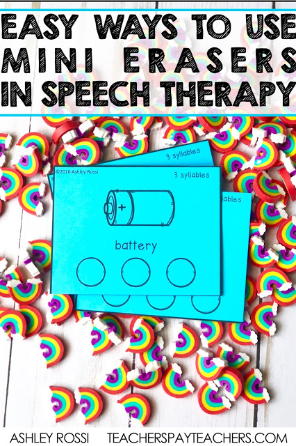 Using mini erasers in speech therapy