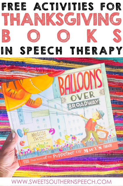 FREE download for Thanksgiving books in speech therapy