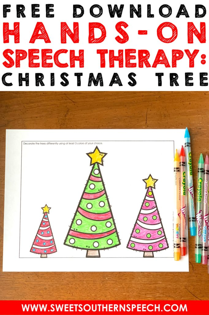 7 ways to use a Christmas tree in Speech Therapy to target articulation and expressive & receptive language - great seasonal activity!