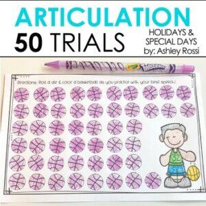 50 Articulation Trials worksheet