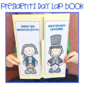 Student holding up a Presidents Day Lap Book