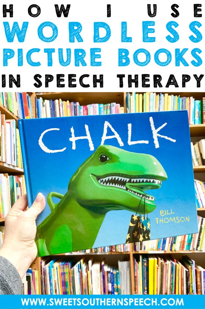 Using wordless picture books in speech therapy - download a free list. #speechtherapy #literacybasedspeechtherapy