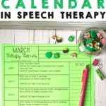 FREE March themed calendar for speech therapy
