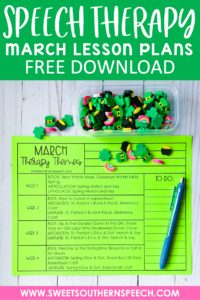 Free March Lesson Plans for Speech Therapy