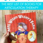 The best list of SH books for articulation therapy. This has all the children's picture books that I use in speech therapy to target the SH sound.
