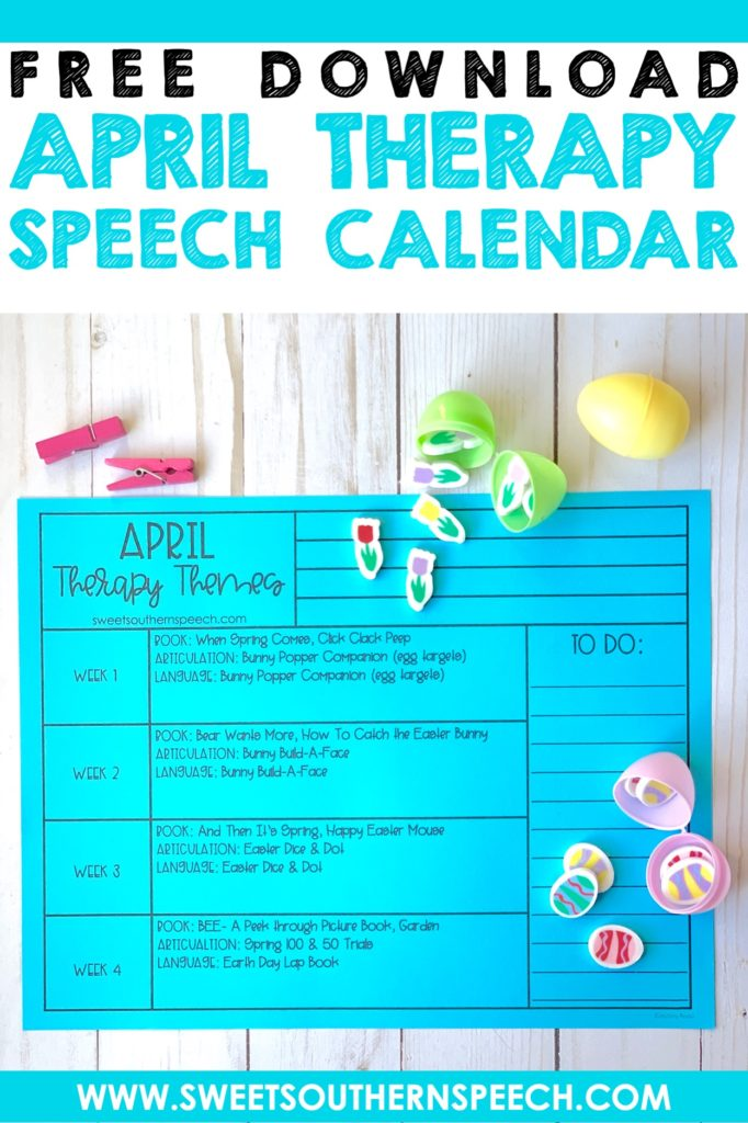 FREE April Speech Therapy Calendar to plan themed therapy activities