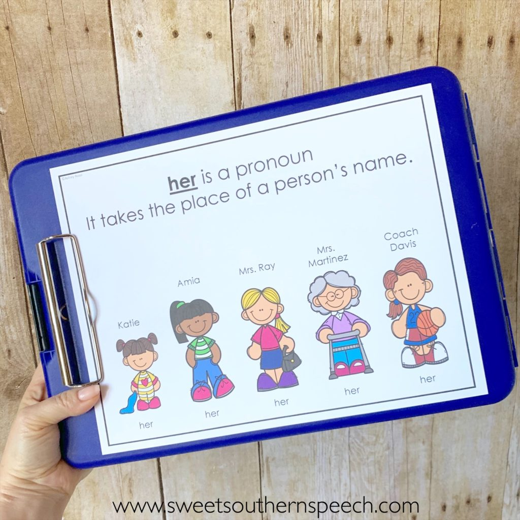 Use these pronoun teaching posters with your speech therapy students
