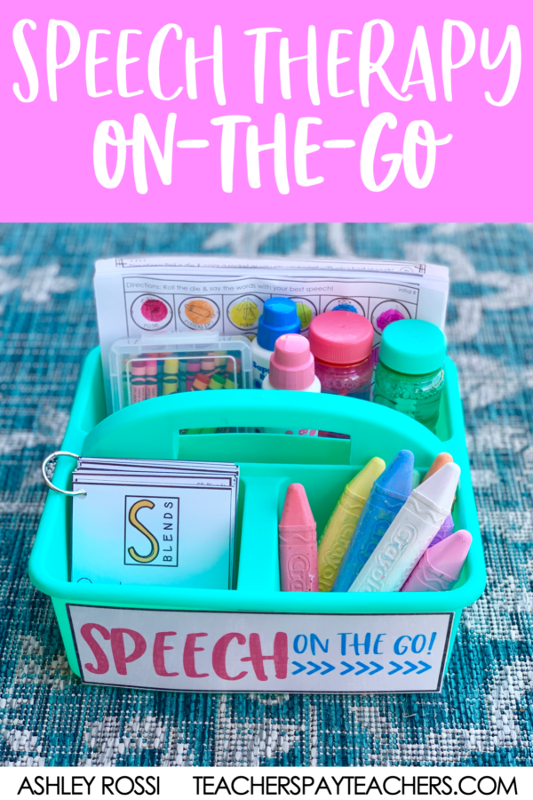 Download this FREE caddy label for on-the-go Speech Therapy organization of your materials