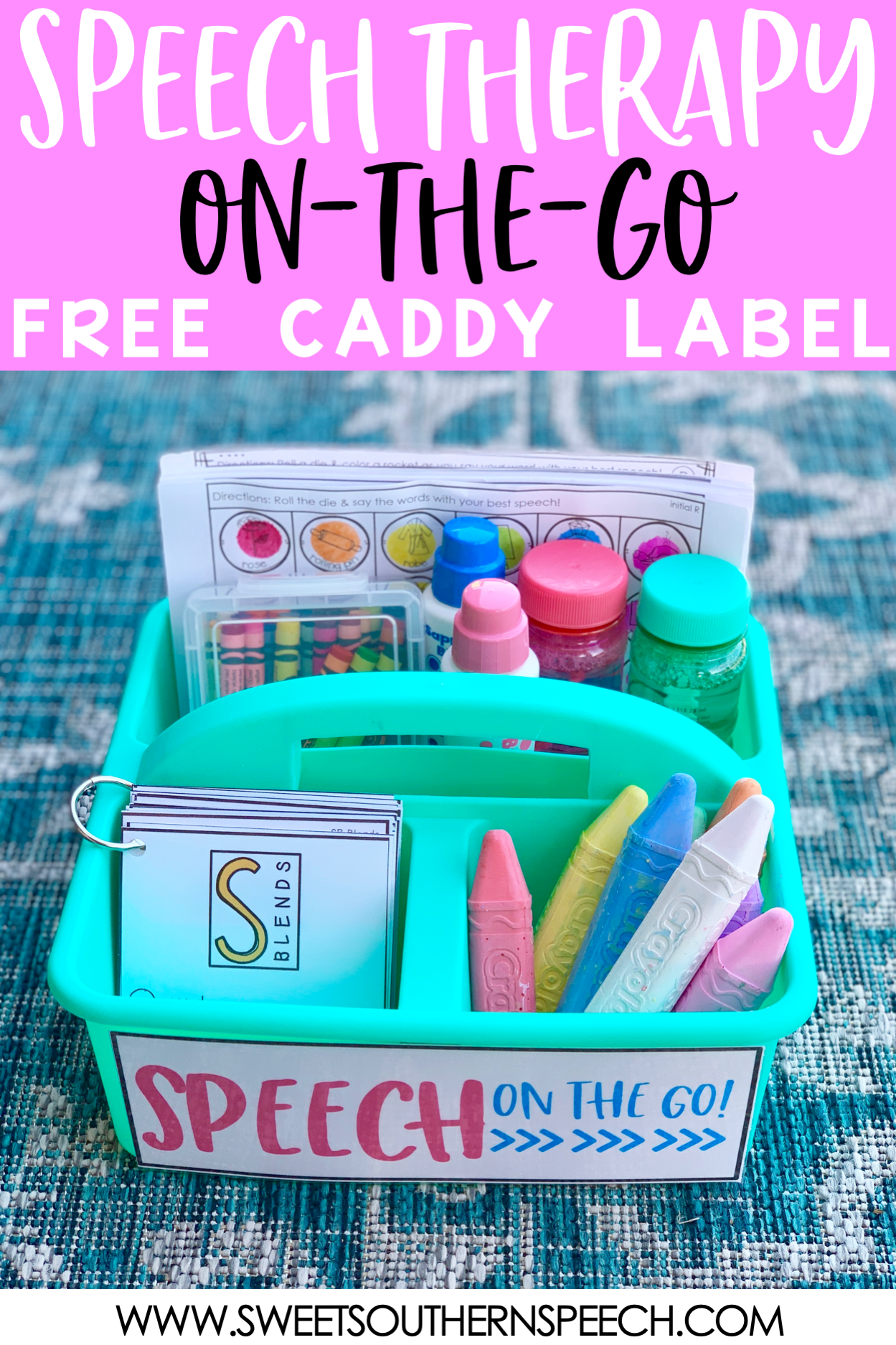 Download this FREE caddy label for your speech therapy materials and supplies organization!