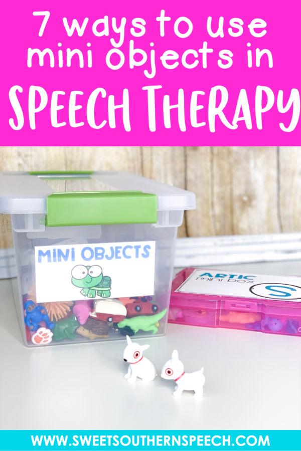 7 ways to use mini objects in speech therapy. Fun and purposeful activities for your preschool and elementary caseload. #speechtherapy