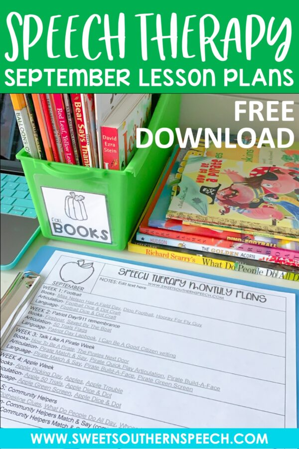 Speech Therapy Lesson Plans for September