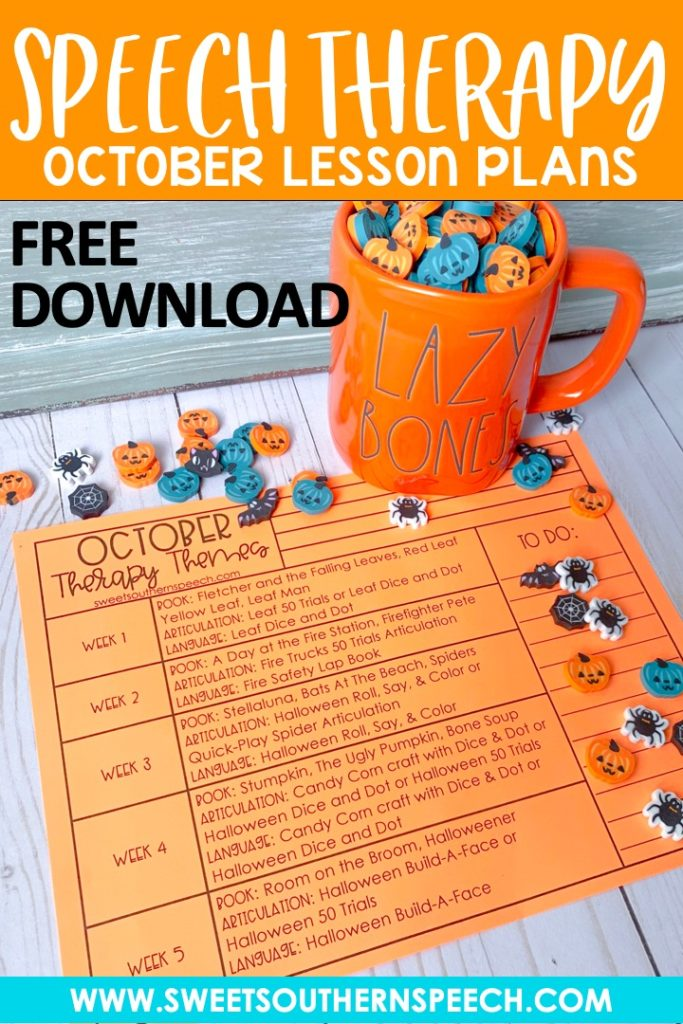 Download these FREE October lesson plans for your speech therapy activities