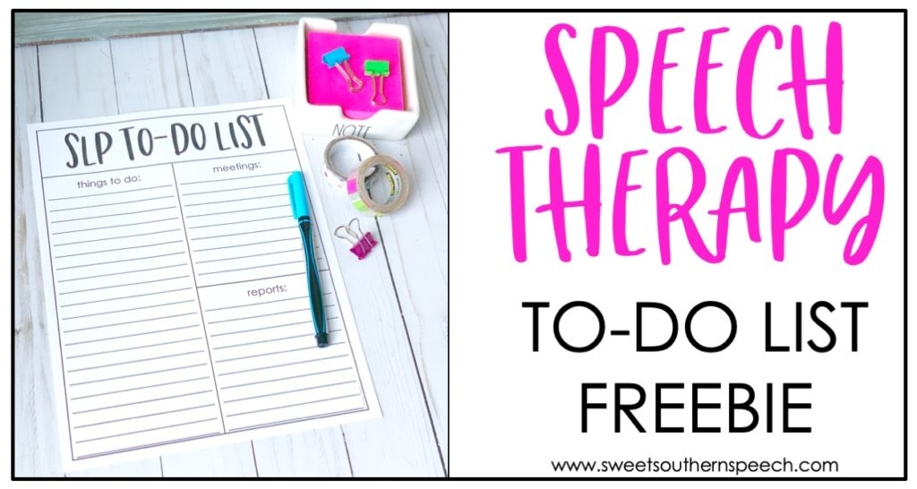 Speech Therapy free to-do list