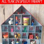 How to use an advent calendar all year in Speech Therapy to work on expressive and receptive language skills.