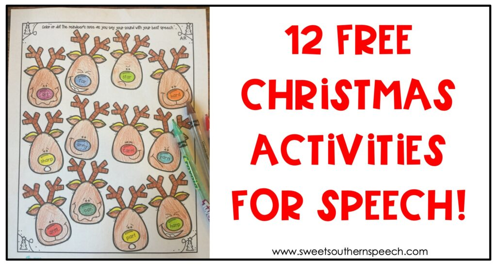 12 FREE Speech Therapy Christmas activities